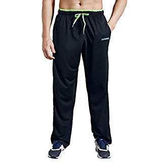 LUWELL PRO Men's Sweatpants with Zipper Pockets Open Bottom Athletic Pants for Jogging, Workout, Gym, Running, Training(0727 Black,XL)