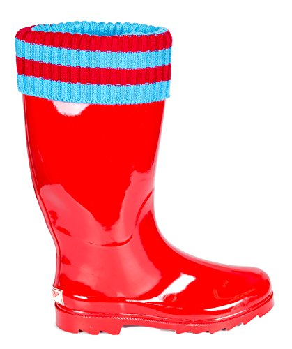 Forever Young Womens Red Rubber Mid-Calf Striped Cuff Rain Boots 8 2ogL6vsUWX
