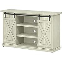 Industrial 54 TV Stand - Antique Rustic Look - Sliding Doors - Vintage Design (Old Wood White)