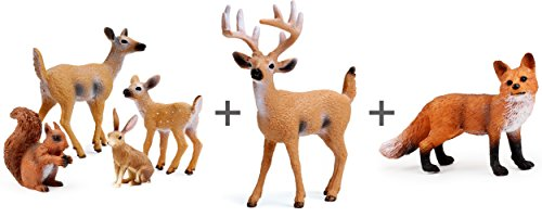 Fox Animal Figurine - Miniature Deer Family Toy Figurines with Forest Animal Babies Set, Includes a Buck, Doe, Fawn, Rabbit, Squirrel and Fox
