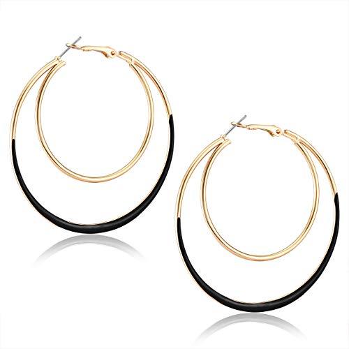 - YOUMI Hoop Earrings Double Circle Statement Earring Double Oval Drop Dangle Earring for Women Girls (Black)
