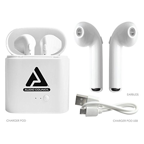 True Wireless Bluetooth Earbuds with Portable Charging Case, USB, MIC, Bluetooth Earpiece Cell Phone Mini Ear Headphone for Iphone Apple Samsung Android Smartphone Tablet PC by Audio Council