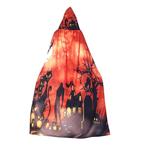 Halloween Costume, Litetao 2017 New Fashion Novelty Pumpkin Print Cape Scarf Shawl (Red)