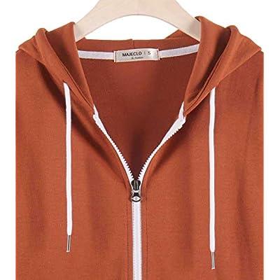 MAJECLO Women's Slim Fit Casual Full-Zip Hooded Lightweight Long Sleeve Sweatshirt at Women's Clothing store