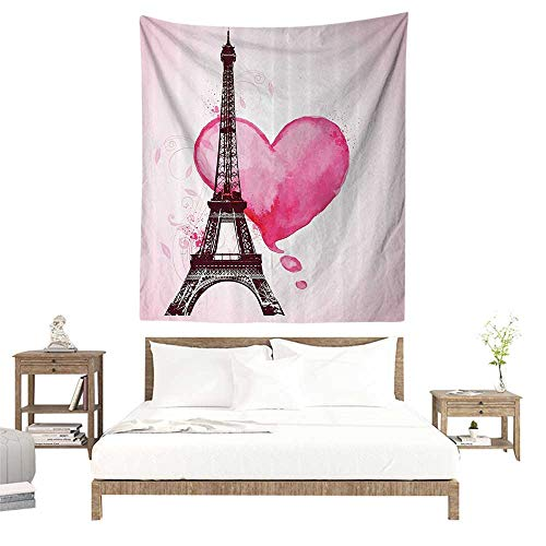 - alisoso Wall Tapestries Hippie,Eiffel Tower Decor,Eiffel Romantic Valentine Love Watercolor Themed Heart Leaf Silhouette Print,Plum Fuchsia W39 x L39 inch Tapestry Wallpaper Home Decor