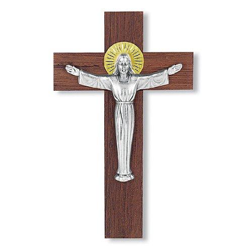 (WJ Hirten 2065 Italian Walnut Cross Antique Risen Christ Figure)