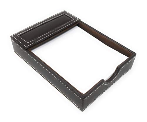 (Beckham Village Desktop Memo Note Pad Storage Organizer Caddy, PU Leather, 6.25 Inches Long)