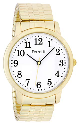 Ferretti Unisex | Classic Gold-Tone Expansion Bracelet Big Number Watch | FT16101