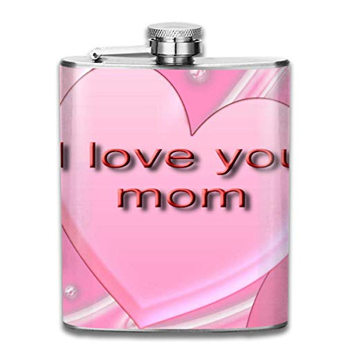 FTRGRAFE Love Mom Pink Heart Fashion Portable 304 Stainless Steel Leak-Proof Alcohol Whiskey Liquor Wine 7OZ Pot Hip Flask Travel Camping Flagon for Man Woman Flask Great Little Gift