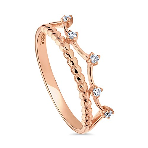 BERRICLE Rose Gold Plated Sterling Silver Cubic Zirconia CZ Crown Bead Promise Ring Size 4