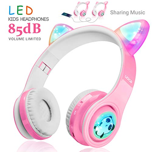 WOICE Girls Wireless Headphones, LED Flashing Lights, Music Sharing Function, Stereo Sound, SD Card Slot and Build-in Mic Wireless/Wired Children Bluetooth Headphones for Girls (Pink)