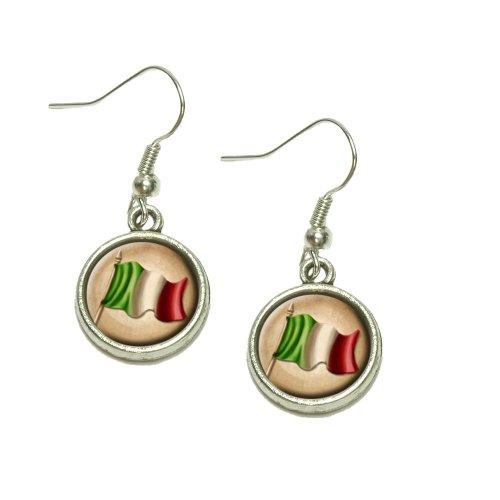Vintage Italian Flag Italy Dangling Drop Charm Earrings
