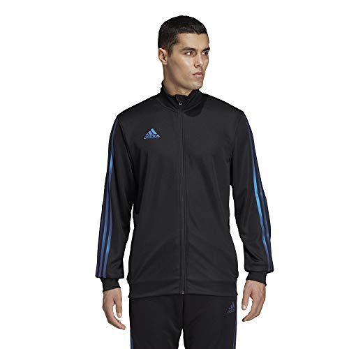 adidas Men's Alphaskin Tiro Training Jacket, Black/Blue Pearl Essence, X-Large