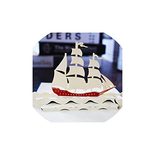 Greeting Card,3D Pop Up Cards Birthday Card For Girl Kids Wife Husband Birthday Cake Greeting Card Postcards Gifts Card With Envelope Stickers,Sailboat