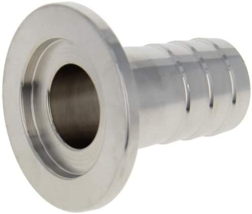 MroMax KF25 Flange to 20mm Rubber Hose Barb Adapter Stainless Steel 304 for Vacuum Silver Tone 1PCS