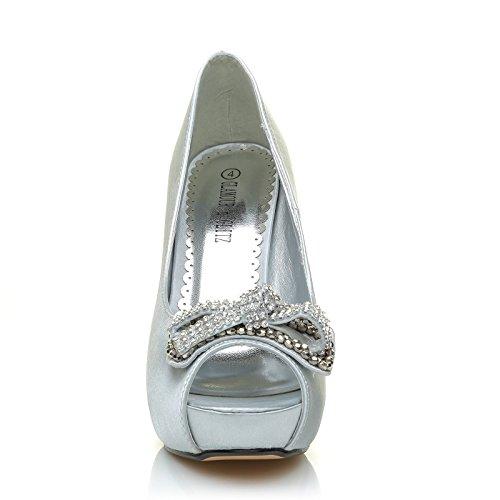 Bow Diamante Punta Designe Satin Scarpe Argento Tacco Gioiello Alto A Aperta qwH4tC