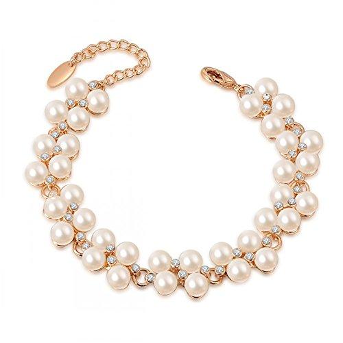 O4U Genuine Austrian Crystals with Pearl Gold Plated Bracelet (Crystal Genuine Austrian Bracelet)
