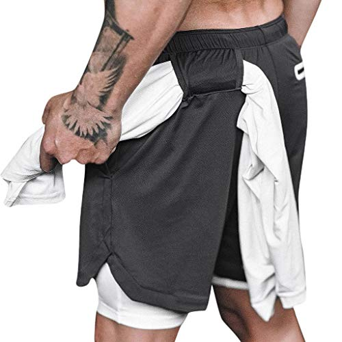 DIOMOR Mens Athletic Outdoor 2 in 1 Shorts Fitness Built-in Pocket Running Leggings Liner Quick Dry Workout Gym Pants