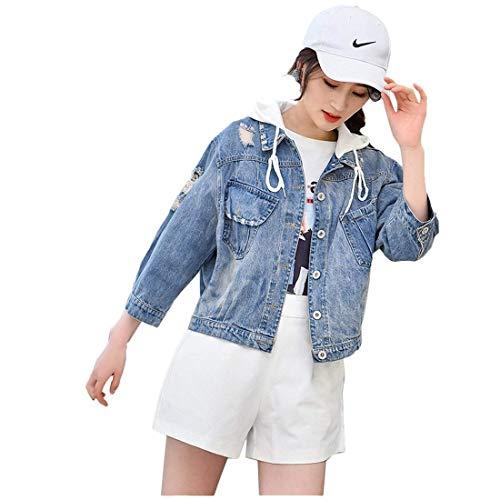 Outerwear Jeans Whitee Lunga Button Relaxed Corto Cappotto Libero Fashion Lanceyy Autunno Giacca Incappucciato Donna Fidanzato Tempo Grazioso Tendenza Ragazze Manica Stlie T5RWwCq