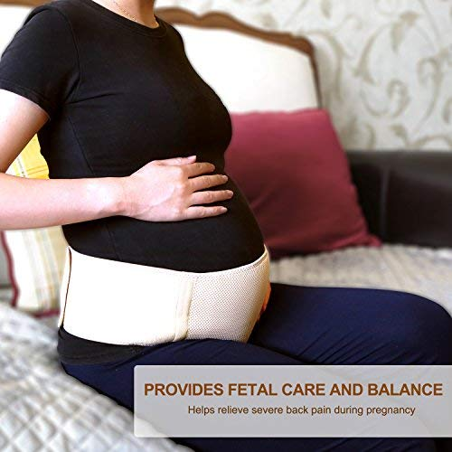 Children Hub Maternity Belt - Pregnancy Belly Band - Pelvic and Lower Back Support - Breathable, Adjustable, Comfortable - 55 Inches - Beige