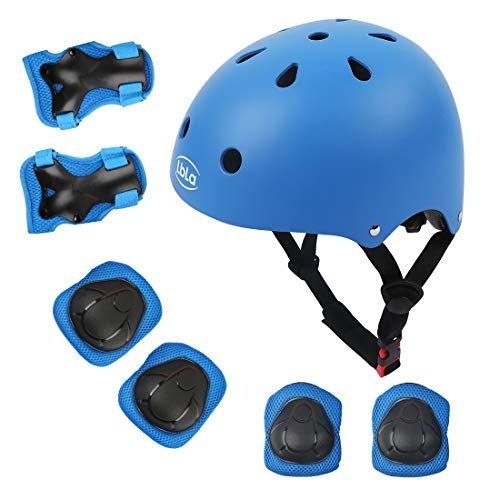 LBLA Helmet and Pads for Kids 3-8 Years Toddler Helmet,Kids Bike Skateboard Helmet ,Helmet Knee Elbow Wrist for Scooter,7Pcs Adjustable Protective Gear Set for Kids(Blue) (Best Skateboard Helmet Reviews)