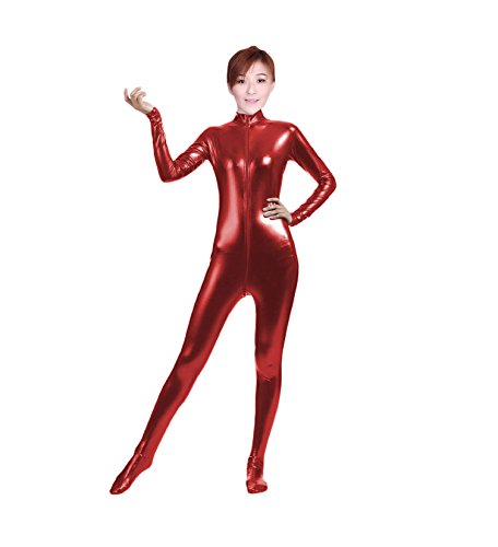 [WOLF UNITARD Shiny Metallic Unitard Bodysuit Catsuit X-Large Red] (Acrobat Costume Circus)