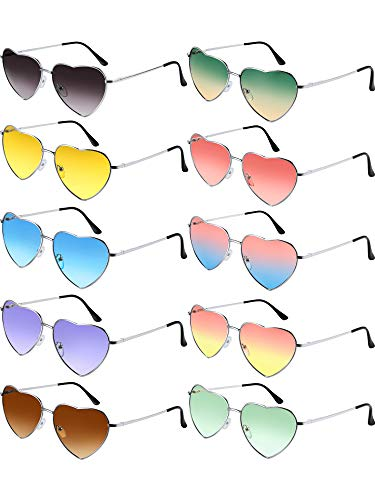 Chinco 10 Pieces Heart Shaped Sunglasses Thin Metal Frame Lovely Heart Style (Silver ()