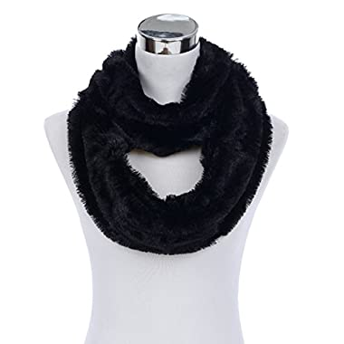 Super Soft Faux Fur Solid Color Warm Infinity Loop Circle Scarf, Black