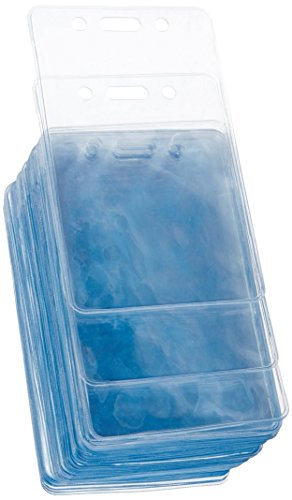 AmazonBasics Clear Name ID Badge Holder - Vertical (Pack of 50) ()