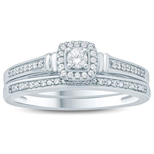 1/5 Carat Diamond Halo Engagement Ring and Wedding Band Set in 10K White Gold