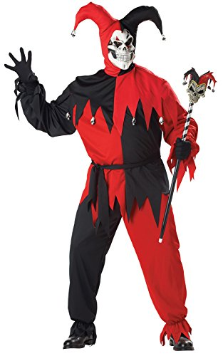 UHC Men's Evil Jester Clown Outfit Carnival Theme Halloween Plus Size Costume, Plus (48-52)