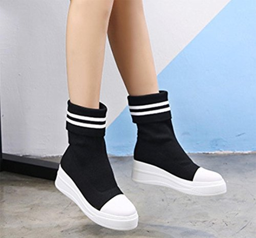 MEI autumn and winter women's boots high elastic socks boots thick bottom slope with boots female socks shoes black red socks boots , US6 / EU36 / UK4 / CN36