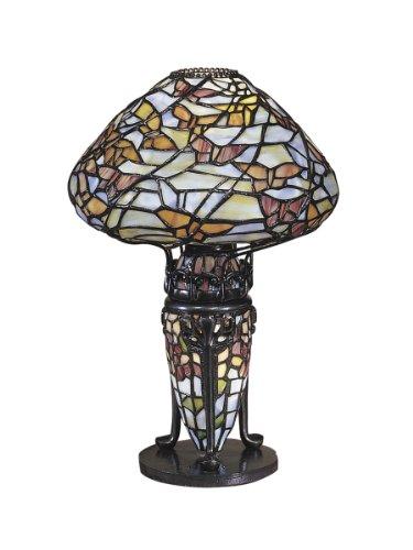 Dale Tiffany TA100602 Papillion Tiffany Lamp, Antique Bronze and Art Glass Shade