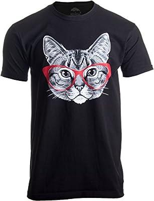 Ann Arbor T-shirt Co. Red Linda Glasses Cat | Funny Belcher Kitty Cute Humor Fun T-Shirt For Men Women