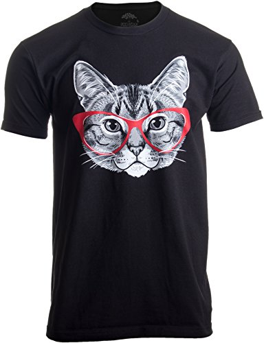 Red Linda Glasses Cat | Funny Belcher Kitty Cute Humor Fun T-Shirt for Men ()