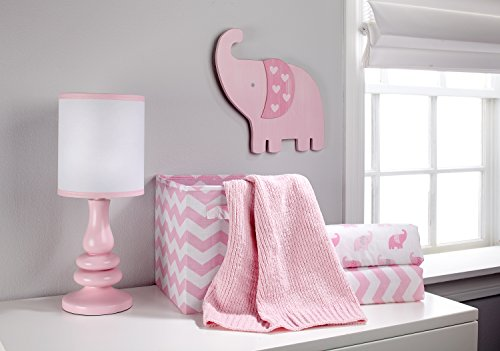 Little Love by NoJo Separates Collection Elephant Printed Crib Sheet, Pink, 52'' x 28'' by NoJo (Image #1)'