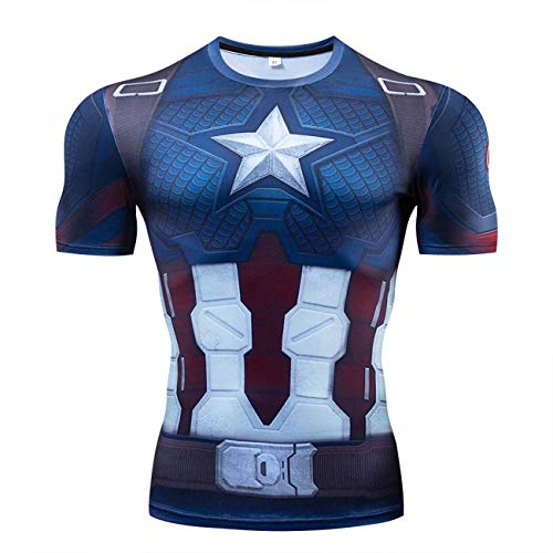 RONGANDHE Men's Super-Hero Compression Sports Fitness America Teamleader T-Shirt Quick-Drying Captain-short-CY058-L -