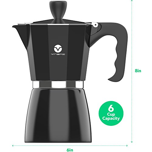 Vremi Stovetop Espresso Maker - Moka Pot Coffee Maker for Gas or Electric Stove Top - 6 Cups Demitasse Espresso Shot Maker for Italian Espresso Cappuccino or Latte - Black by Vremi (Image #1)