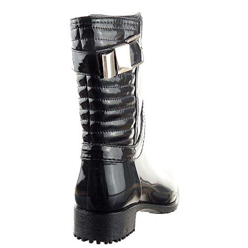 Sopily - Scarpe da Moda Stivaletti - Scarponcini Stivali - Scarponi Stivali pioggia al polpaccio donna Lines fibbia Tacco a blocco 3.5 CM - soletta tessuto - Nero