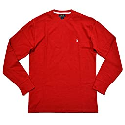 Polo Ralph Lauren Mens Thermal Sleep Shirt Waffle Knit (L, Red)