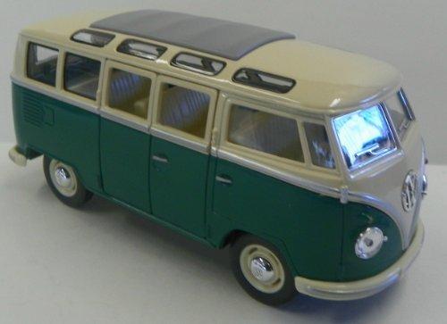 1962 Volkswagen Bus - Kinsmart 1/24 Scale Diecast 1962 Volkswagen Classical Bus in Color Green with White Top