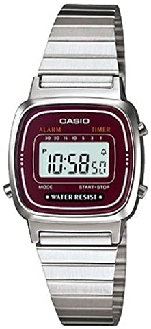 Casio #LA670WA-4 Women's Metal Band Countdown Timer Alarm LCD Digital Watch (Red) - Chiusura Pieghevole