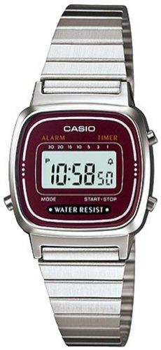 Casio #LA670WA-4 Women's Metal Band Countdown Timer Alarm LCD Digital Watch (Red)