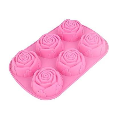Forma eDealMax cocina de goma rosa rosa DIY Torta de la galleta de chocolate Pan Molde