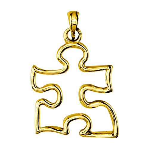 s Open Puzzle Piece Charm in 14K Yellow Gold, 12mm ()