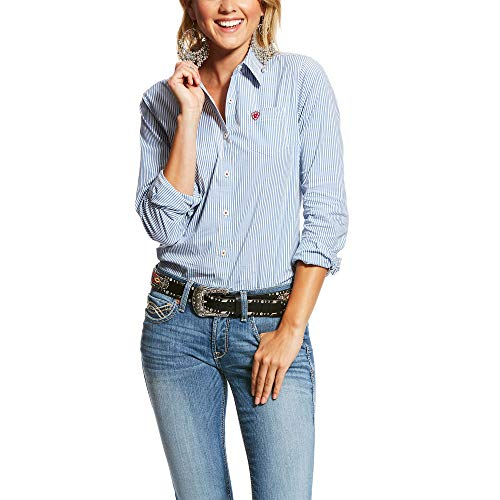 ARIAT Women's Kirby Stretch Shirt Classic Blue Stripe Size X-Small