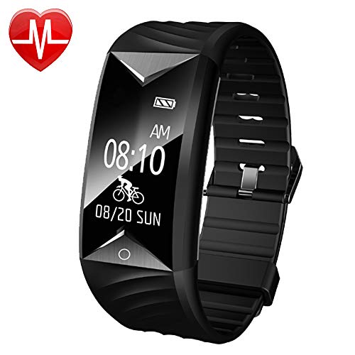 Fitness Tracker with Heart Rate Monitor,YAMAY Fitness Watch Waterproof Activity Tracker with Step Counter Calories Sleep Monitor Vibration Alarm,Pedometer Watch for Men Walking Running Cycling (Black)
