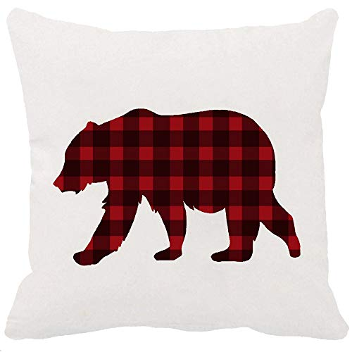 YFYMG Two Sided Printing Classic Retro Red Black Farmhouse Tartan Buffalo Checkers Plaids Animal Bear New Home Decorative Soft Cotton Throw Cushion Cover Pillow Case Square 18 - Bed Sided Cherry 2