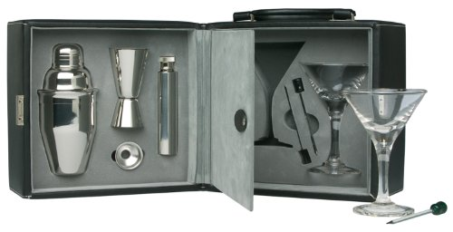Martini Bar Set with Case, 9 piece set (NO INTERNATIONAL SHIPPING AVAILABLE) by Franmara