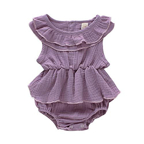 WOCACHI Newborn Infant Baby Girl Sleeveless Solid Romper Bodysuit Clothes Outfits Newborn Mom Daughter Son Coverall Layette Sets Best Gift Multi Adorable Dress-up Outfits]()
